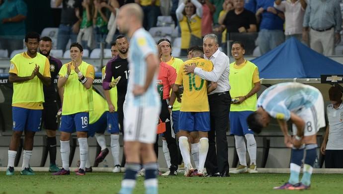 Neymar Tite Brasil x Argentina (Foto: Pedro Martins / MoWA Press)