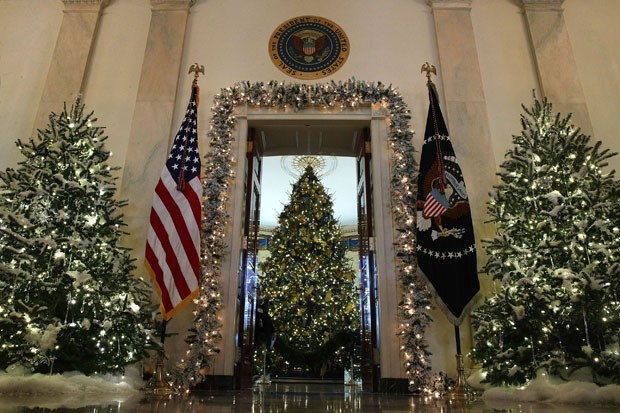 WASHINGTON, DC - NOVEMBER 27:  The official White House Christmas tree stands in the Blue Room at the White House during a press preview of the 2017 holiday decorations November 27, 2017 in Washington, DC. The theme of the White House holiday decorations  (Foto: Getty Images)