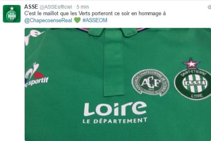 BLOG: Saint-Étienne enfrentará o Olympique no Francês com o escudo da Chapecoense