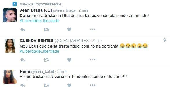 Internautas comentam cena em que Tiradentes, personagem de Thiago Lacerda, é enforcado (Foto: reprodução/twitter)