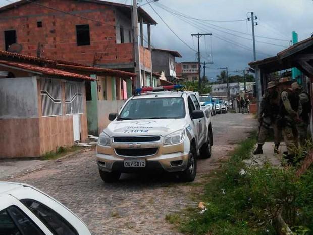 Viaturas da Polícia Militar no recôncavo baiano durante da operação  (Foto: Divulgação/SSP-BA)