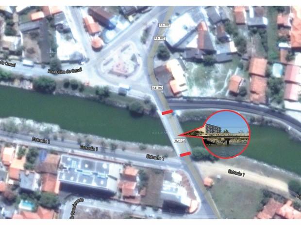Mapa foi divulgado mostrando ponde que será interditada.  (Foto: Divulgação/Ascom Maricá)