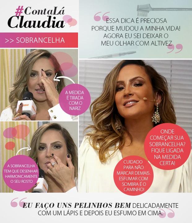 Conta Lá Claudia sobrancelha (Foto: Gshow/TV Globo)