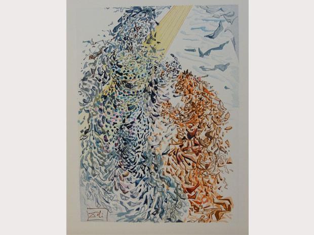 O paraíso fecha o ciclo da exposição, com gravuras numa parede branca. (Foto: Reprodução)