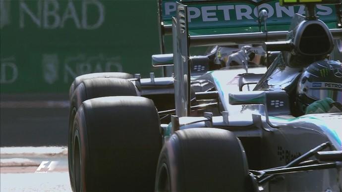 Nico Rosberg atrapalhou volta rápida de Lewis Hamilton no 3º treino livre para o GP de Abu Dhabi (Foto: Reprodução)