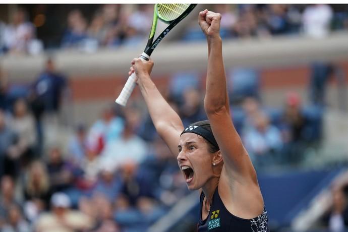 Anastasija Sevastova vence Maria Sharapova no US Open (Foto: Eduardo MUNOZ ALVAREZ / AFP)