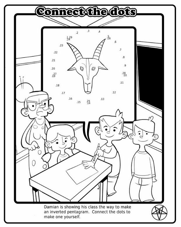 A cabeça de bode do Belzebu é o tema principal da brincadeira de ligue os pontos, para formar o hexagrama pagão (Foto: Reprodução/The Satanic Temple)