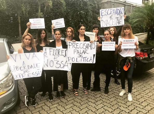 Fernanda Nobra (à esquerda), Paula Lavigne (no centro) e Alinne Moraes (à direita): protesto (Foto: Reprodução Instagram)