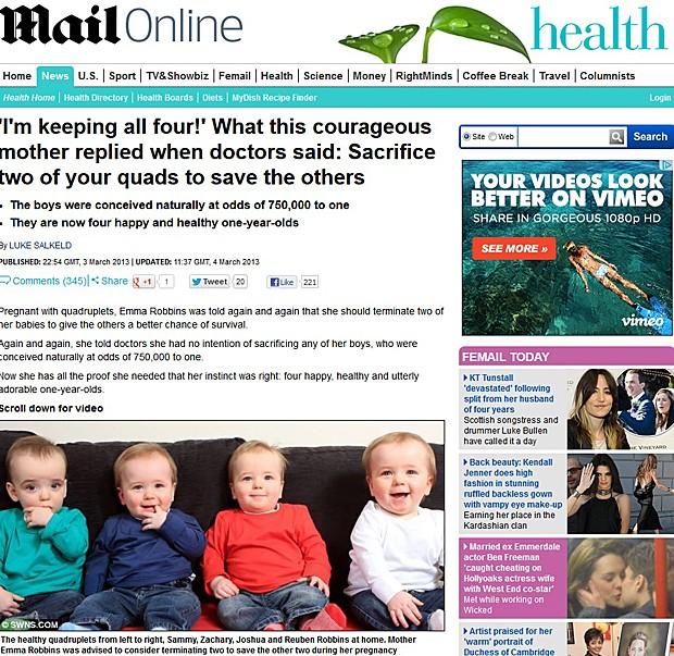Da esquerda para a direita, os irmãos Sam, Zachary, Joshua e Reuben Robbins (Foto: Daily Mail/Reprodução)