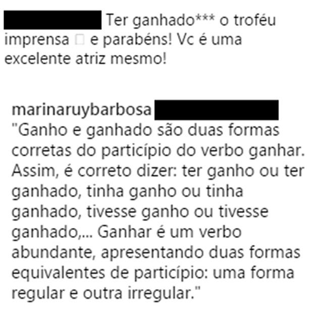 Resposta de Marina Ruy Barbosa (Foto: Reprodução/Instagram)