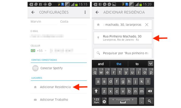 Adicionando um endereço de residência no Uber pelo iPhone (Foto: Reprodução/Marvin Costa)