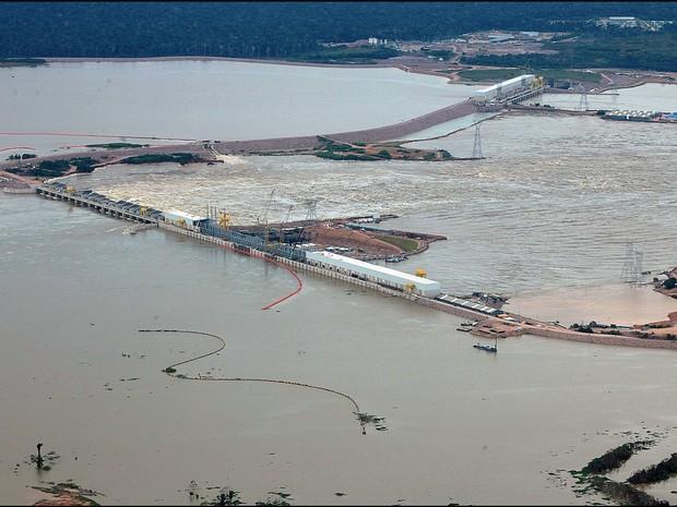 Usina Hidrelétrica Santo Antônio, no Rio Madeira (Foto: Sérgio Vale/Secom Acre)