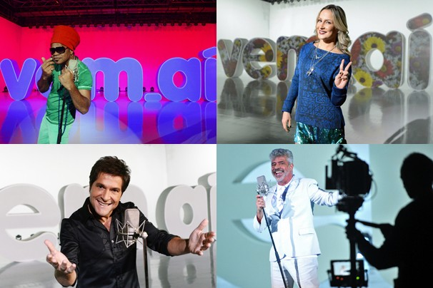 Os técnicos do The Voice, Carlinhos Brown, Cláudia Leitte, Daniel e Lulu Santos, também cantam! Você vê no dia 28 (Foto: João Miguel JR./Rede Globo)