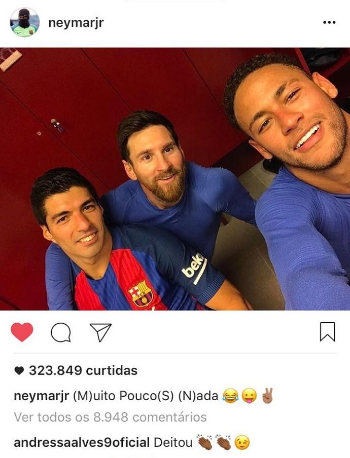 """BLOG: Neymar posta com Messi e Suárez e provoca jornal: """"(M)uito Pouco(S) (N)ada"""""""