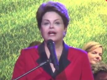 A presidente Lula discursa durante encontro nacional do PT, em São Paulo (Foto: Reprodução)