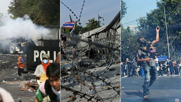 Tailândia protestos Entenda (Foto: Manish Swarup/AP e Christophe Archambault/AFP)