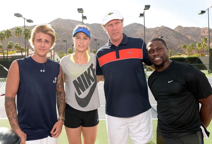 Justin Bieber, Eugenie Bouchard, Will Ferrell e Kevin Hart, Tênis (Foto: AFP)