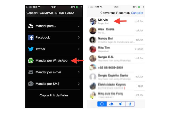 Iniciando o compartilhamento de uma música do Spotify do celular com um contato do WhatsApp (Foto: Reprodução/Marvin Costa)