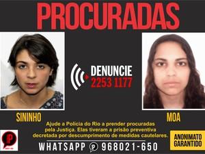 Cartaz com fotos de Sininho e Moa foi divulgado (Foto: Reprodução / Disque-Denúncia)