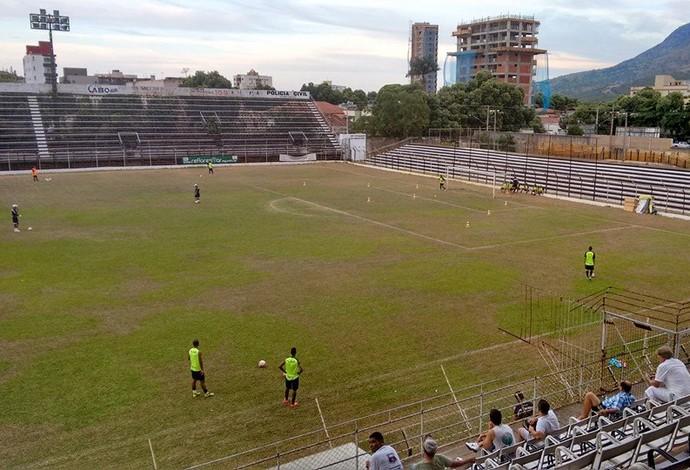 O Democrata GV já retomou os treinamentos para o próximo jogo no Campeonato Mineiro. (Foto: Diego Souza/Globoesporte.com)
