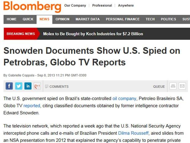 A agência Bloomberg, em reportagem de Gabrielle Coppola, relata que os documentos explicam que a motivação da espionagem era 'política, econômica e diplomática'. (Foto: Reprodução)