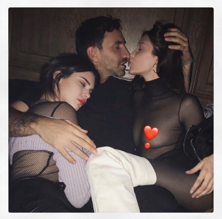 Kendall Jenner, Riccardo Tisci e Bella Hadid (Foto: Instagram/Reprodução)