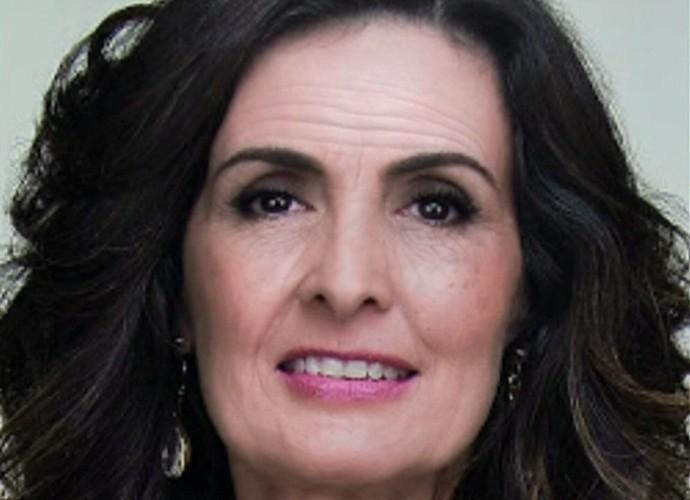 Imagem reproduz Fátima Bernardes na terceira idade (Foto: TV Globo)