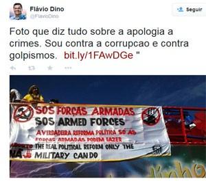 Flávio Dino comenta as manifestações por Twitter (Foto: Reprodução/Twitter)