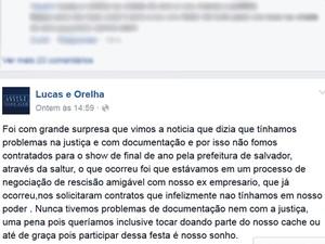 Lucas e Orelha estão fora do Réveillon de Salvador e se pronunciam através de rede social (Foto: Reprodução/ Facebook)