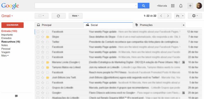 Guias na caixa de entrada do Gmail (Foto: Reprodução/ Marcela Vaz)