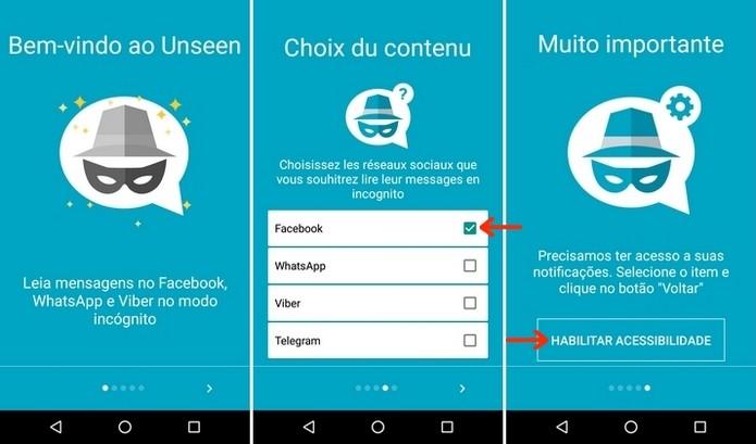 Telas iniciais do aplicativo para Android Unseen (Foto: Divulgação/Raquel Freire)