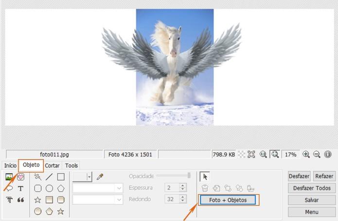 Una o objeto da imagem 2 com a imagem principal no PhotoScape (Foto: Reprodução/Barbara Mannara)