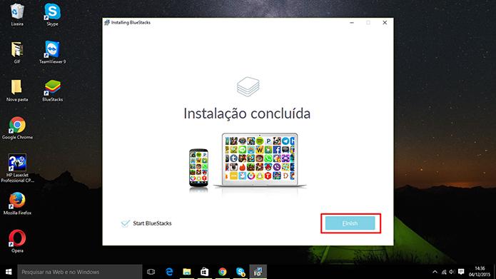 BlueStacks 2 pode iniciar aplicativos do Android no Windows logo após a instalação (Foto: Reprodução/Elson de Souza)