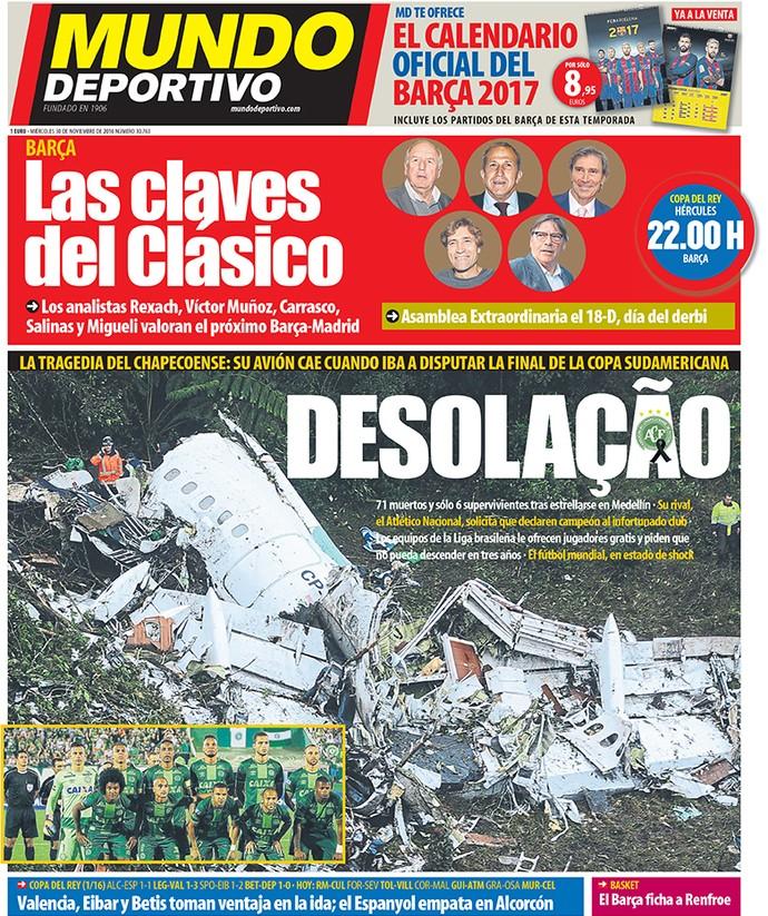 Capa de jornal Mundo Deportivo Chapecoense (Foto: Reprodução / Mundo Deportivo)