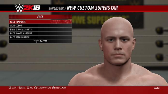 Opções para personalização de rostos em WWE 2K16 (Foto: Reprodução/André Mello) (Foto: Opções para personalização de rostos em WWE 2K16 (Foto: Reprodução/André Mello))