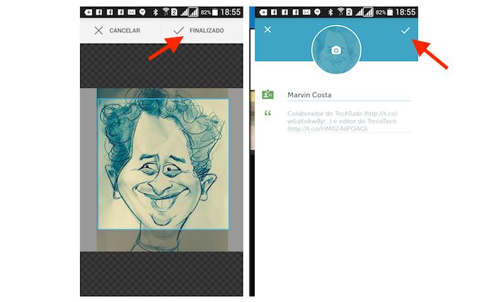 Definindo a imagem de perfil e finalizando a edição do perfil no Periscope para Android (Foto: Reprodução/Marvin Costa)
