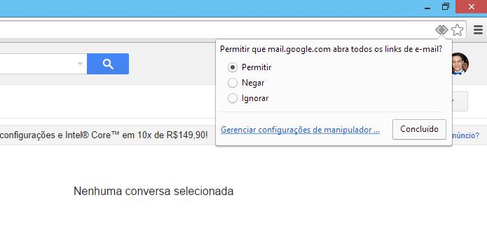Definindo o Gmail como cliente padrão (Foto: Reprodução/Helito Bijora)