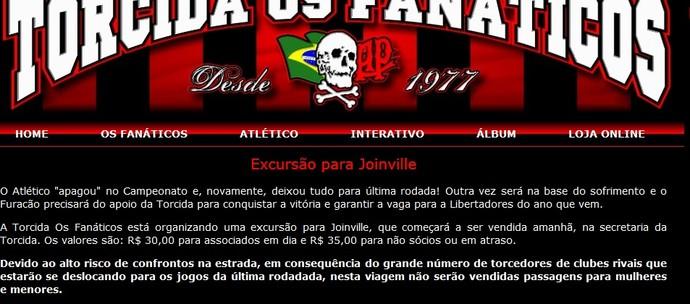 Imagem torcida organizada Atlético-PR (Foto: reprodução)