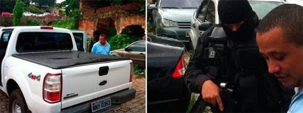 José Fernandes da Silva, o 'Fernando da Gata', foi conduzido à delegacia após ser preso em apartamento de luxo em Natal (Foto: Igor Jácome/G1)