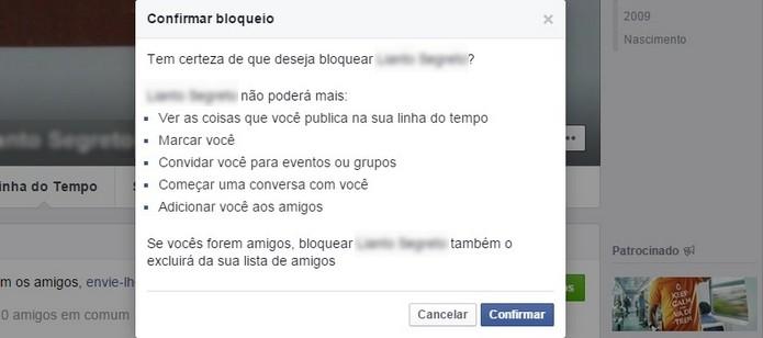 Janela para confirmar bloqueio do desconhecido no Facebook (Foto: Reprodução/Raquel Freire)