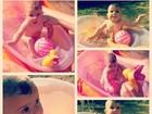 Filha de Debby Lagranha curte 'piscinheira' em dia de calor intenso