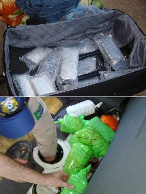 Juntas, Polícia Rodoviária Federal e Receita Federal apreenderam 26 kg de haxixe (Foto: Divulgação / RF e PRF)