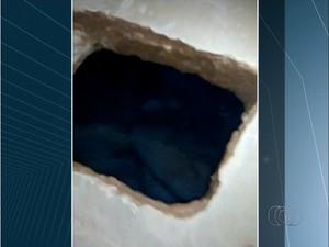 Túnel foi encontrado no pavilhão B da unidade, em Palmas (Foto: Reprodução/TV Anhanguera)