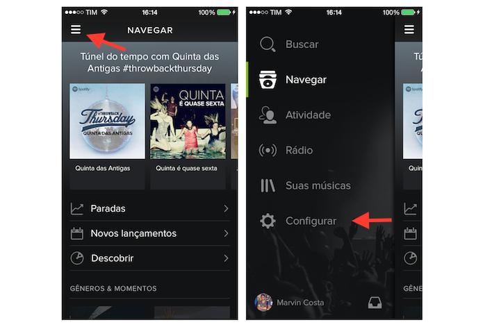 Acessando as configurações do Spotify no iPhone (Foto: Reprodução/Marvin Costa)