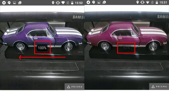 Selecionando o percentual do filtro que deverá ser usado (Foto: Reprodução/Edivaldo Brito)