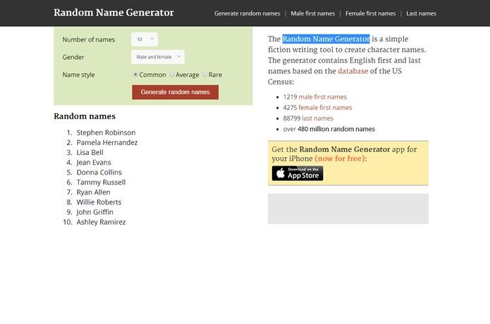O Random Name Generator funciona misturando nomes e sobrenomes de um enorme anco de dados (Foto: Reprodução/Daniel Ribeiro)