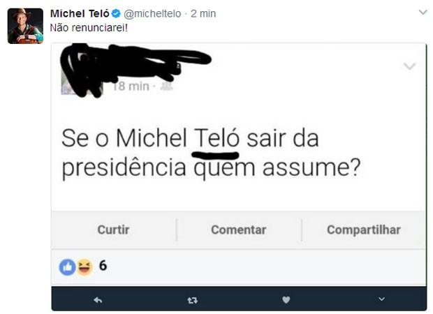 Michel Teló brinca com piadas sobre renúncia de presidente Michel Temer (Foto: Reprodução)