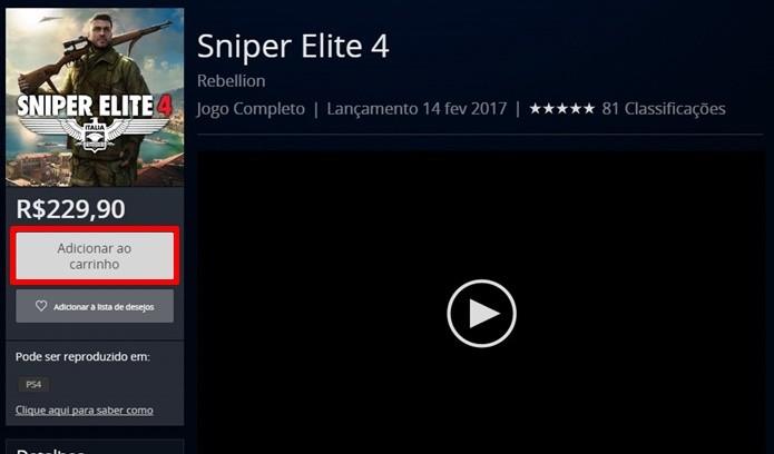 Compra de Sniper Elite 4 pode ser feita com diferentes formas de pagamento (Foto: Reprodução/Felipe Demartini)