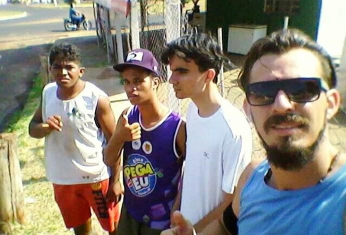 Lucas, Alex, Air e professor Calixto Franco Ituiutaba Corrida 10km (Foto: Calixto Franco/Arquivo Pessoal)