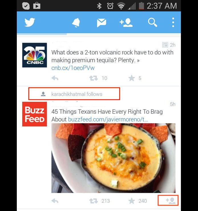 Tuítes sugeridos seriam de pessoas seguidas por contatos que o usuário segue  (Foto: Reprodução/Twitter/Mashable)